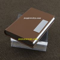 The mens of success coffee color leather alloy cardcase with cute plate