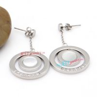 Simple Style of Silver Circles Stainless Steel Fashion Symbol of Diamond Earrings