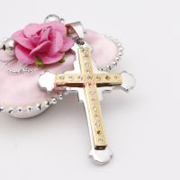 Classical diamonds stainless steel double cross pendent