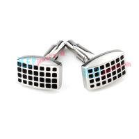 Small Black Square World Stainless Steel Cufflinks Wholesale Jewelry