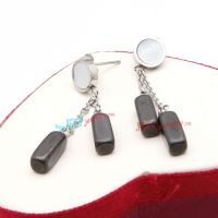 Cool Black Dual Three Dimension Rectangular-Shapes of Stainless Steel Italian Earrings