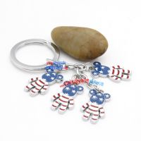 Lovely Stainless Steel Initial Key Rings with Cute and Adorable Stars-and-Stripes Pattern Little-bear-shaped Metals