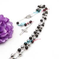 black and silver beads necklace with cross pendant