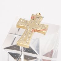 Royal golden stainless steel diamonds cross pendent