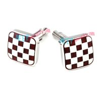 White & Red Grids Pattern Square-Shape Stainless Steel Cufflinks Wholesale Wedding Jewelry