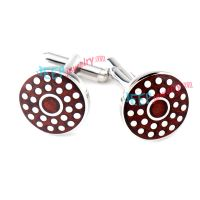 White Spots Pattern of Red Circle-Shape Stainless Steel Cufflinks Steel Jewelry
