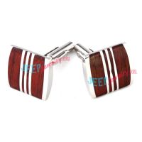 Red and White Style of Square-Shape Garderobe Stainless Steel Cufflinks Fashion Jewelry