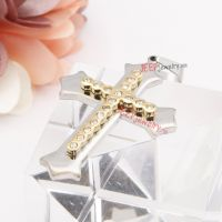 Graceful stainless steel double cross diamonds pendent