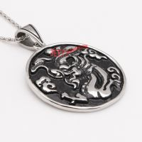 silvery dragon pattern black circular medal 316L stainless steel pendant