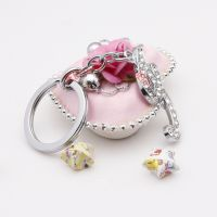 The sparkling diamond word G alloy key ring
