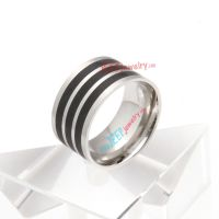 Silver stripes Black Epoxy stainless steel ring