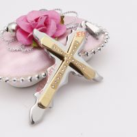 Wave-edge golden and silver stainless steel crosses pendent