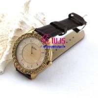 promotion watch of 2013 fashion lady watch in brown with big rhinestones