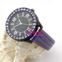 luxury elegant leather watch for men and women, round dail watch with square rhinestones