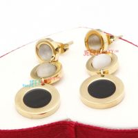 Delicate Golden Combination of Three Circular-Shapes Fashion Stainless Steel fashion Earrings