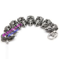 Cool Design Silver & Black Skull Mask Stainless Steel of Bespoke Bracelets London