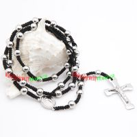 Mens Stainless Steel Necklace with Design of Small Silver Bead and Two Different Pendants