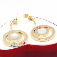 Golden Dual Circular-Shapes Stainless Steel Fashionable earring similar to Real Diamond Earrings