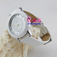 cute watch for man and woman, white leather watch with colorful rhinestones