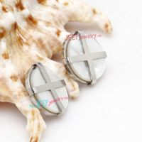 Silver X Letter Pattern Circular-Shape of Stainless Steel cheap wholesale Earrings Studs