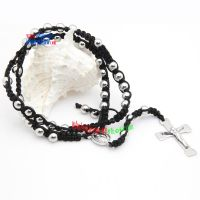 Black leather Necklace with the Silver Stainless Steel Beads Interlocking Love Necklaces