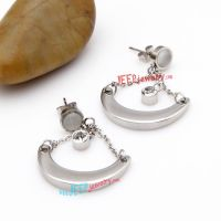 Beautiful Silver Crescent Moon Pattern with Photos of Zac Efron of Stainless Steel earrings