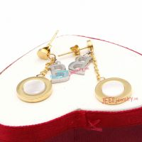 Charming Golden Circular-Shape & Silver B letter Pattern Stainless Steel Sterling Silver Earrings