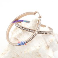 Charming and attractive stainless steel twinkling crystals fashion earrings