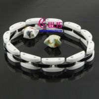 The fashion black and white tungsten steel ceramic bracelet