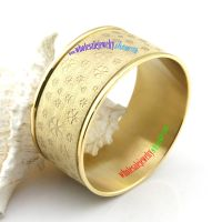 Charming Design of Gold Flower Patterns Stainless Steel Mens Gold Bangles Sets