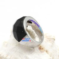Vogue Brand Dazzle Notable Black 3D-Cap& Silver Stainless Steel Rings By Design