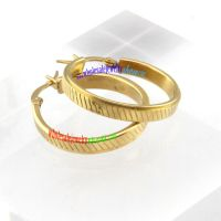 Simple Style of Big Size Dazzle Golden Stripes Circle Stainless Steel Fashion Earrings