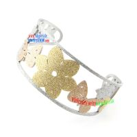 Pretty Golden & Silver Design of Flower and Butterfly Stainless Steel Bangles For Men