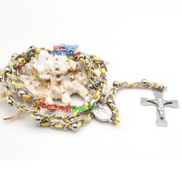 Bright Chain with the Yellow Rope and Cross Pendant Stainless Steel Necklace Chains