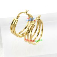 Fashion Style of Golden Three Distorted Circles Stainless Steel Little Girls Earrings