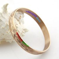 Stereo Light Brown Bangle with Mysterious Pattern Fashion Stainless Steel Jewelry