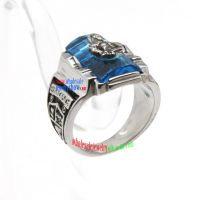 Cool Style of Fashion Pirate Design of Blue & Silver Stainless Steel Engraved Rings