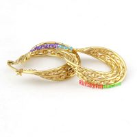 Attractive Ladies Unique European Style Golden Wreath Stainless Steel of Wedding Earrings