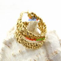Particular Design of Delicate Golden Wheat Circle Stainless Steel Big Fashion Earrings