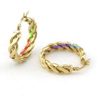Particular Design of Fashion Jewelry of Golden Rope Circle Stainless Steel Screw Back Earrings