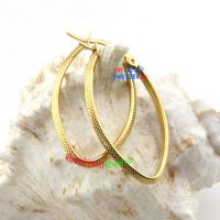 Cool Design of Snakeskin Stripes Oval-Shape of Stainless Steel Yellow Gold Earrings