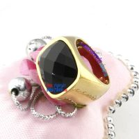 Honorable Smooth Golden Ring with A Black Multi-sections Zircon Steel Wedding Rings