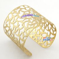 Particular Style Hollow Design of Golden Leaves Stainless Steel Fashion Bangles Online
