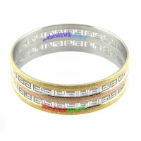 Retro Style Dazzle Silver Religious Patten of Stainless Steel Gold Bangles Collection
