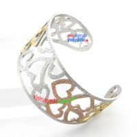 Attractive Fashion Ladies Hollow Design of Golden Heart-Shape Stainless Steel Ebay Bangles