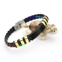 Perfect Fashion Black Braid Leather With Silver Buckle Stainless Steel Of Gold Bangles Jewelry