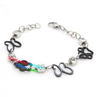 Unique Design of Black Feet and Butterfly Silver Circles Stainless Steel Bracelet Men