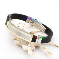 Stylish Design Black Leather With Silver Special Buckles Stainless Steel Plastic Bangles Wholesale