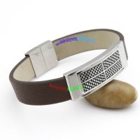 Silvery Rectangle with Regular Black Veins Gentleman Brown Leather Bangle Engravable Bangles