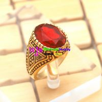 Vintage Style of Red Gemstone With Golden & Brown Tattoo Design Stainless Steel Rings